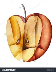 Cubist Apple by Eugene Ivanov  #eugeneivanov #cubism #avantgarde #threedimensional #cubist #artwork #cubistartwork #abstract #geometric #association #@eugene_1_ivanov