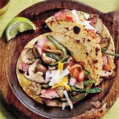 Wild Mushroom, Flank Steak, and Poblano Tacos | MyRecipes.com