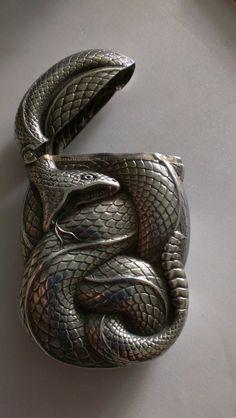 Antique Sterling Silver Figural Snake Match Safe Vesta Case Box William B Kerr