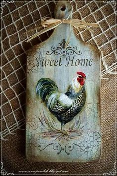 Декупаж доска разделочная Decoupage Vintage, Decoupage Art, Rooster Art, Rooster Decor, Chicken Painting, Chicken Art, Diy Crafts To Do, Wood Crafts, Fabric Painting