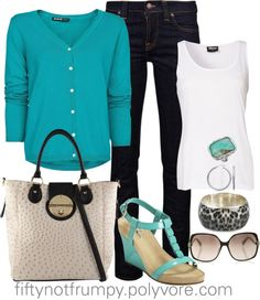 """Teal Sweater"" by fiftynotfrumpy ❤ liked on Polyvore"