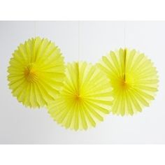 Yellow 10 Tissue Fans - Hanging Decor - Party - Shop Cakegirls