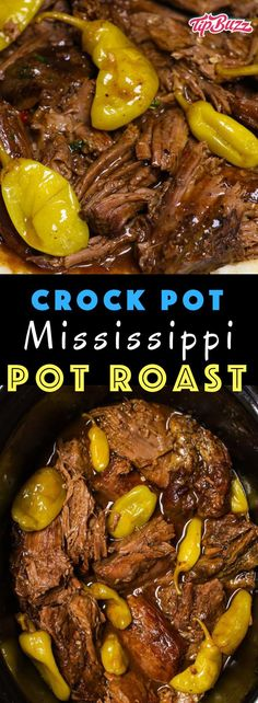 Mississippi Pot Roast is one of the most delicious crock pot dinners you'll ever make! Flavorful comfort food that's super juicy and fork-tender. Only 5 minutes of preparation to make this epic meal in the slow cooker! (Jo uses 4 pounds) Pot Roast Recipes, Healthy Crockpot Recipes, Slow Cooker Recipes, Beef Recipes, Cooking Recipes, Dinner Recipes, Cooking Tips, Fast Recipes, Chicken Recipes
