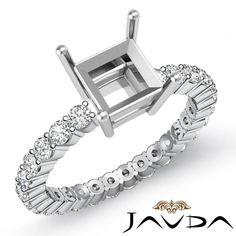 Diamond Engagement Eternity Style Ring Princess Semi Mount Platinum 950 0 8ct   eBay