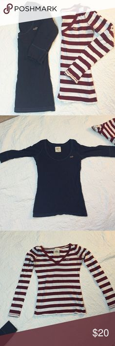 Bundle of 2 Hollister shirts Navy blue one is more of a scoop neck with elbow length sleeves and 100% cotton. Ted and white has long sleeves and a v-neck and 100% cotton. Both size small Hollister Tops Tees - Long Sleeve