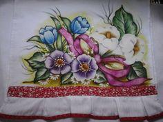 Pano de prato flores e laço | Nuza Artes | Elo7