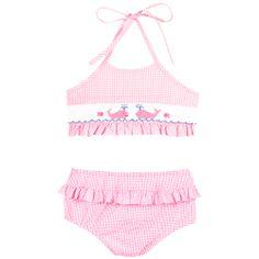 Our Vive La Pink Whale Smocked Ruffle Bikini! Shop NOW at www.ragsland.com & follow Ragsland on Instagram!