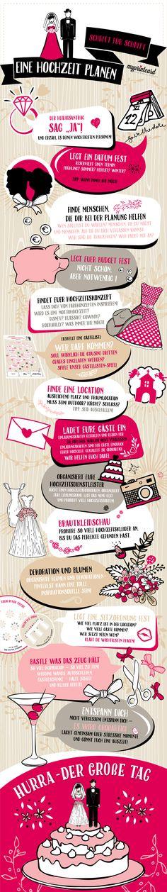 Hier ist die Checkliste für Eure Hochzeitsplanung! In 14 Schritten feierst Du deine Traumhochzeit. Hast du an alles gedacht? #hochzeit #infografik #tipps #hochzeitsplanung #hochzeitsvorbereitung #checkliste #ideen #ratgeber #hochzeitsfeier #heiraten #braut #bräutigam #love #wedding