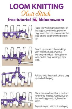 How to create the knit stitch on a loomYou can find Loom knitting and more on our website.How to create the knit stitch on a loom Loom Knitting Blanket, Round Loom Knitting, Loom Knitting Stitches, Loom Knit Hat, Knifty Knitter, Loom Knitting Projects, Knitting Blogs, Sock Knitting, Knitting Tutorials