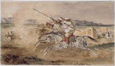 Eugène DELACROIX, Fantasia arabe devant Mequinez, 1832, Musée du Louvre, Photo (C) RMN-Grand Palais / Jean-Gilles Berizzi.