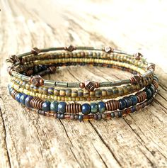 Beaded bracelet stack Boho blue & brown picasso glass and
