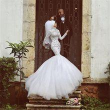 2016 Vestidos de Casamento Da Sereia Mangas Compridas Dubai Muçulmano Vestidos de Noiva de Alta Decote Custom Made Sexy Vestido De Casamento De Cristal(China (Mainland))