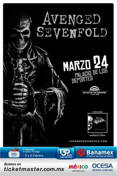 Avenged Sevenfold en México!! Marzo 24, Palacio de los Deportes, DF.