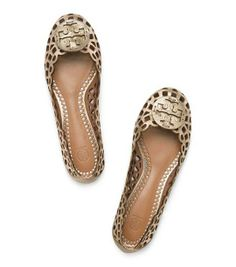 Mira Ballet Flats - laser cut to create a delicate, lacy pattern in Platinum from Tory Burch
