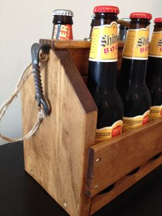 Five Year Wedding Anniversary Idea for Him: Handmade Wooden Beer Caddy with Brass by BloodSweatandBeers