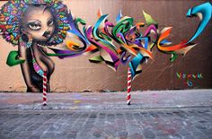 Graffiti : Painting on wall by Vinie and Mandra in Paris : street ...