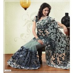 Grey color Net  saree