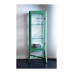 FABRIKÖR Glass-door cabinet, light green - 57x150 cm - IKEA