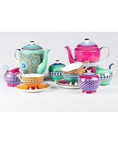 Such vibrant colors! Love this tea set. Teaware - Tea time becomes more exciting with the vibrantly hued Casbah teaware collection by Tea. Definitely not your grandmother's typical tea s. Teapots And Cups, Tea Service, My Cup Of Tea, Chocolate Pots, Afternoon Tea, Cup And Saucer, Tea Time, Tea Party, Tea Cups