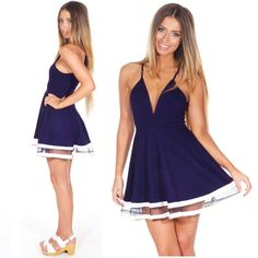 #Valentines #AdoreWe #TomTop - #generic New Sexy Women Chiffon Dress Deep V-Neck Spaghetti Strap Clubwear Skater Mini Dress Dark Blue/White - AdoreWe.com