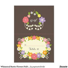 """Whimsical Rustic Flowers Fold-over Escort Cards 3.5"""" X 5"""" Invitation Card"""