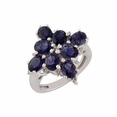 Natural Iolite White Topaz 925 Sterling Silver Pretty Cluster Ring Jewelry #Unbranded #Cluster #ValentinesDay