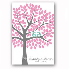 Guest Book Poster Owl Guestbook Alternative for 125 Guests Tree Print Turquoise Wedding Guestbook Tree Green Wedding Poster Tree Art Print. $54.00, via Etsy.