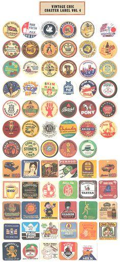 Vintage Coaster Label Stickers box vol 4 by WonderlandRoom, $8.50/70  great for international beer night/guys' night? Cut up cork sheet into squares/circles & ta-da: custom coasters!