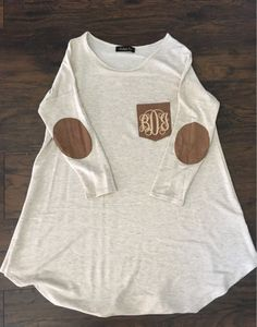 Elbow Patch Monogram Tunic by BeccasSouthernGrams on Etsy