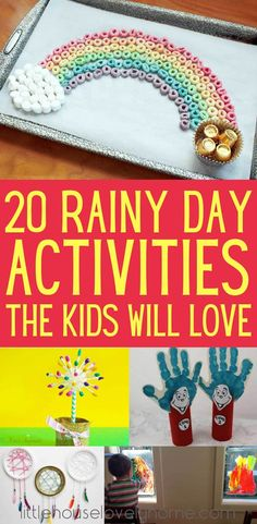 These rainy day activities for kids will keep your children entertained for hours. It can be tough finding indoor activities for children, but this collection of fun things for kids to do at home will see you right. This list includes inside activities fo Children's Day Activities, Rainy Day Activities For Kids, Rainy Day Crafts, Indoor Activities For Kids, Toddler Activities, Outdoor Activities, Bonding Activities, Activity Days, Things To Do Inside