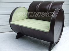 Outdoor 55 gallon drum chair, hammer tone copper powder coat finish.http://www.drumworksfurniture.com/