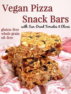 Vegan Pizza Snack Bars-healthy, savory snack bars! #glutenfree #vegan #pizza #recipe #oilfree #savory