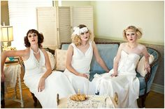 Gatsby Party Styled Shoot Unique bridesmaids pose. Dresses from Lauren James Bridal and Formal. laurenjamebridal.com