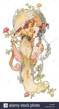 An art nouveau illustration by Eva Daniell of a beautiful woman.