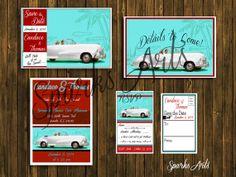 1950 Retro Save The Date & Wedding Vintage Invitation Theme Set  by SparksArts,