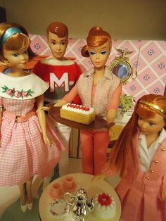 Barbie's having a tea party for all her red haired friends and family!