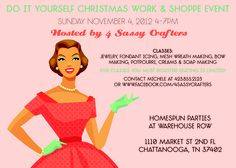 You are invited but you must register.  http://4sassycrafters-eac2.eventbrite.com/