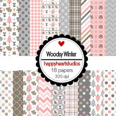 Digital Scrapbook WoodsyWinter-INSTANT DOWNLOAD by azredhead