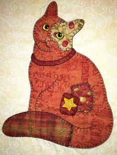 Impressionante apliques de Anna: Amostra de remendo Cats em diferentes tecidos de cores
