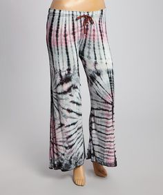 Another great find on #zulily! Pink & Gray Tie-Die Trouser Pants - Plus by Rising International #zulilyfinds