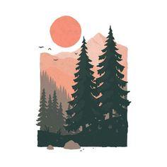 Illustrations, Illustration Art, Mountain Illustration, Nature Drawing, Aesthetic Painting, Guache, Grafik Design, Minimalist Art, Cute Wallpapers