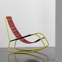 rocking garden chair made from tubes and sling fabric design: lukas scherrer, SHIBULERU