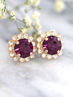 Purple Earrings Purple Amethyst Earrings Plum Earrings by iloniti Purple Earrings, Amethyst Earrings, Bridal Earrings, Etsy Earrings, Bridal Jewelry, Purple Jewelry, Gold Jewellery, Crystal Jewelry, Fashion Earrings