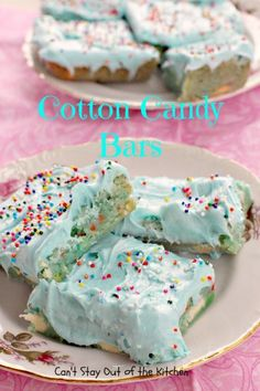 Cotton Candy Bars are decadent dessert bars with a carnival taste of cotton candy. Bars are frosted with cotton candy frosting and sprinkled with sprinkles. Candy Recipes, Sweet Recipes, Dessert Recipes, Fun Recipes, Dessert Ideas, Drink Recipes, Baking Recipes, Recipies, Yummy Treats