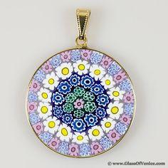 57 best murano millefiori pendants jewelry images on pinterest large millefiori pendant in gold plated frame 32mm murano glassvenetian aloadofball Images