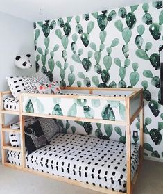 cactus wallpaper ikea kura bed