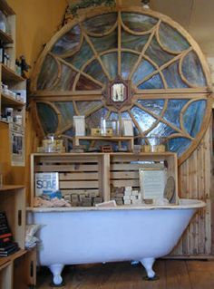 Handcrafted Soap, soap making, books - cute display with the bathtub!