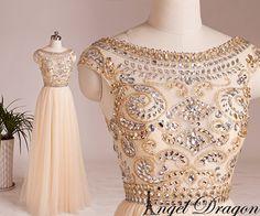 Champagne prom dressbeading prom dressestulle por angeldragon05