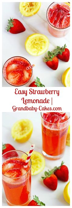 Easy Strawberry Lemonade - Perfectly Tart, Sweet, Delish and Refreshing!  | Grandbaby-Cakes.com