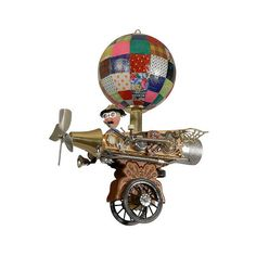 FLOAT LIKE A BUTTERFLY SCULPTURE | Jay Garrison Flying, Butterflies, Patchwork Balloon, Magical Airplane, Propellers, Gadgets, Gizmos, Whimsical, Imaginative, Fun, Creative, Unique Found Object Assemblage, Art, Sculpture | UncommonGoods
